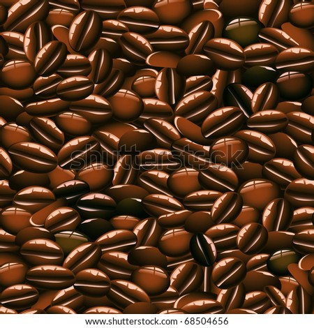 Vector Coffee Beans Seamless Pattern - stock vector