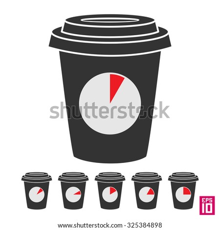 Vector coffee break cup with clock icons with different time periods.
