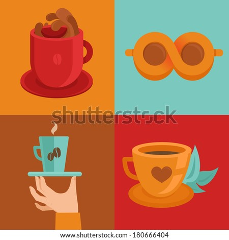 Vector coffee concepts and signs in flat style - cups and mugs with hot drink - stock vector