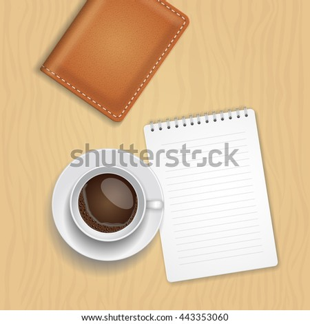 Vector coffee cup and blank notepad on wood background. Office desk composition. Print with realistic coffee cup  filled with espresso  - stock vector