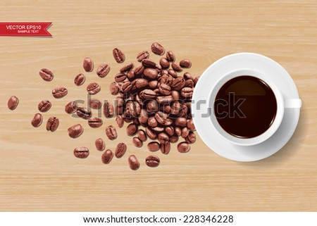 Vector coffee cup and coffee beans on wooden texture background. - stock vector