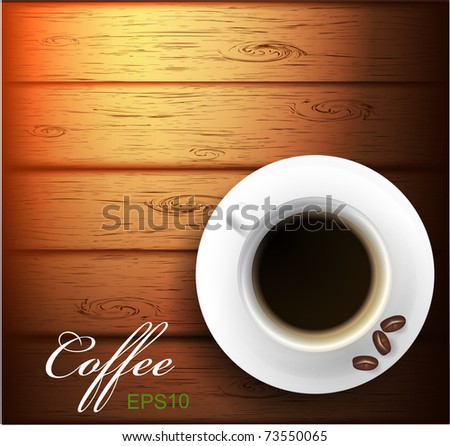Vector coffee cup and grain against wooden background. - stock vector