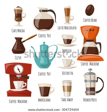 Vector coffee icons.Flat coffee icons. Food and drink elements. Coffee poster. - stock vector