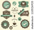 Vector coffee labels. Vintage style - stock vector
