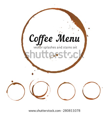 Vector coffee menu cover with coffee stain circles, splashes and spot isolated on white background.  - stock vector