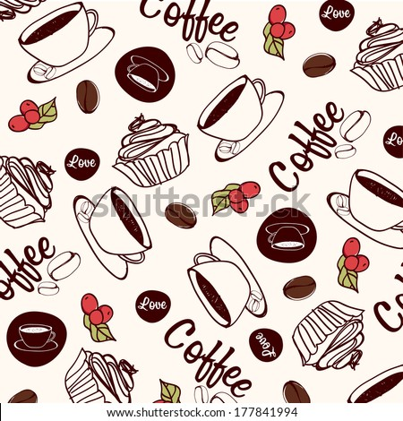 Vector coffee pattern. Background vector  - stock vector