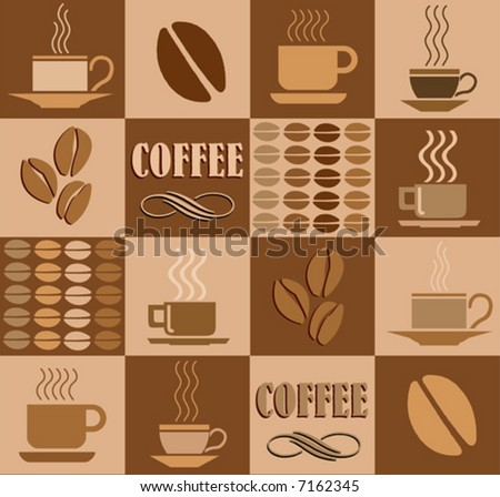 Vector coffee related square illustration - stock vector