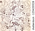 Vector coffee seamless pattern/brown. - stock