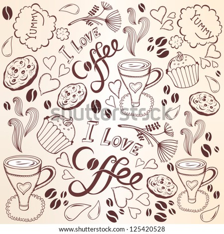 Vector coffee seamless pattern/brown. - stock vector