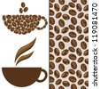 Vector coffee set with cup, coffee beans and seamless pattern, can be use for greeting card, wallpaper, background, cafe menu, decorations - stock photo