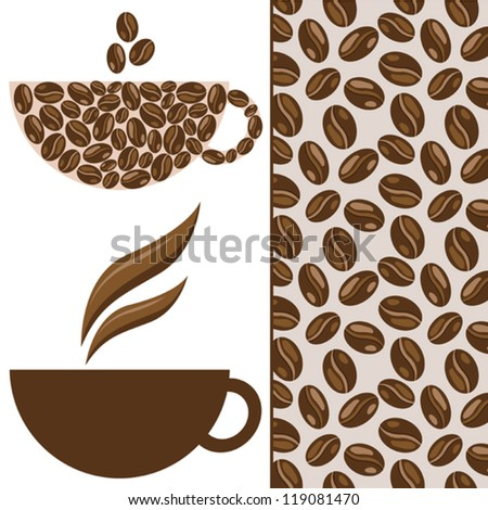 Vector coffee set with cup, coffee beans and seamless pattern, can be use for greeting card, wallpaper, background, cafe menu, decorations