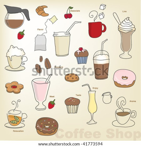 vector- coffee shop objects - stock vector