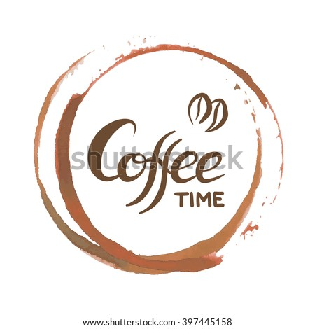 Vector Coffee stain for coffee time card. Coffee time logo. Coffee time list. Coffee time menu. Coffee time stain. Coffee time circle. Coffee time logo. Coffee time ring. Coffee time logo. Coffee time - stock vector