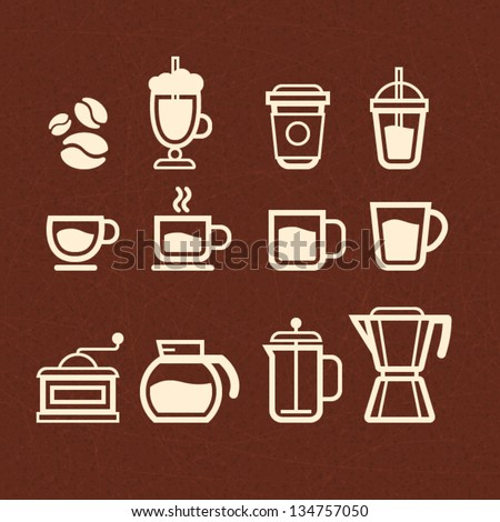 Vector Coffee, Tea and Drinks icons set - stock vector