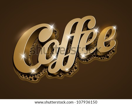 """Vector """"Coffee"""" text. All elements are layered separately in vector file. - stock vector"""