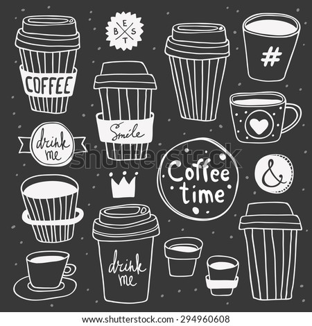 "Vector ""Coffee time"" set. Plastic and paper coffee and tea cups. Coffee to go. Take away. ""Drink me"" and ""Smile"" lettering. Hand drawn elements on chalk board. Good for display window, t-shirt print - stock vector"