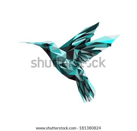 Vector - colibri geometric - stock vector