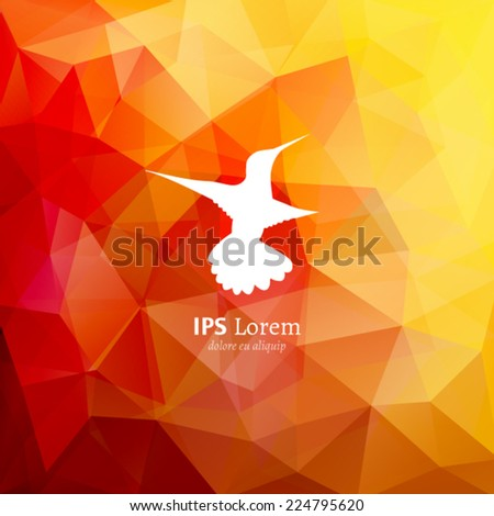 Vector colibri logotype on red multicolor polygonal background. White humming-bird silhouette. Flying bird logo design template. - stock vector