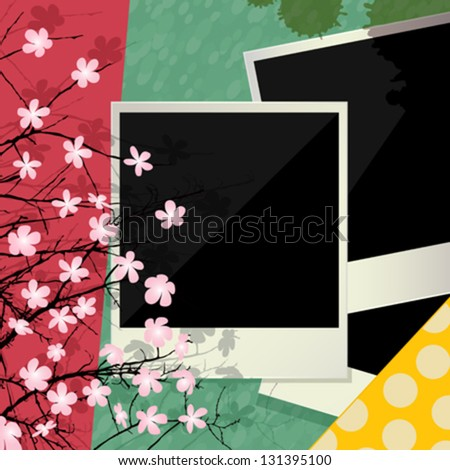 Vector collage, conceptual scrapbook design with vintage photo frames and flowers. - stock vector