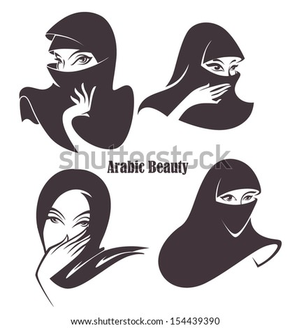 vector collection: beautiful face of arabic muslim woman, vector illustration - stock vector