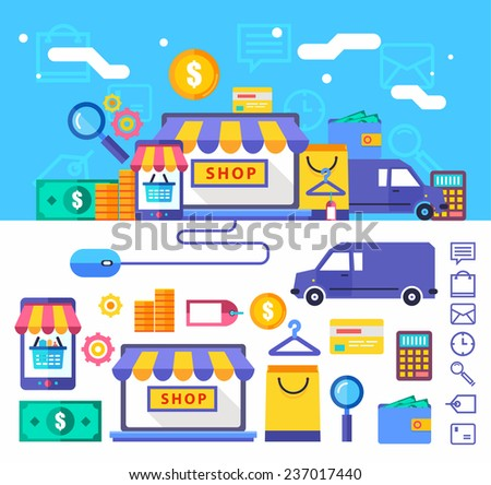 Vector collection concept in stylish colors. online store, shopping, food, cosmetics, computer, laptop, payment card. eps 10 - stock vector