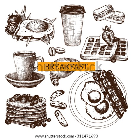 Vector collection different hand drawn food for breakfast menu. Vintage sketch set with  food illustration isolated on white.  - stock vector