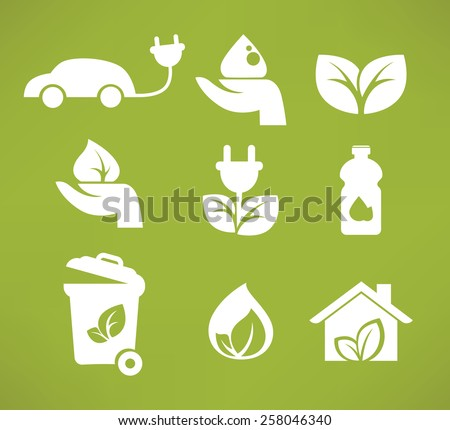 vector collection ecology icons and symbols - stock vector