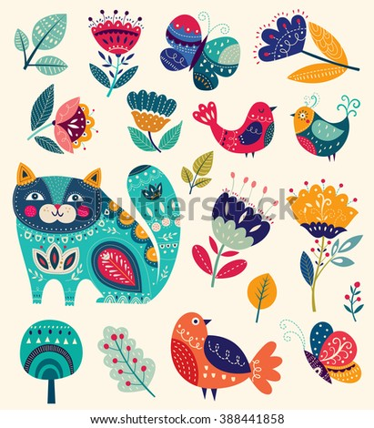 Vector collection in bright colors with spring and summer elements: flowers, decorative cat, butterfly, birds. - stock vector