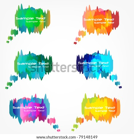 Vector Collection of abstract colorful thought bubbles