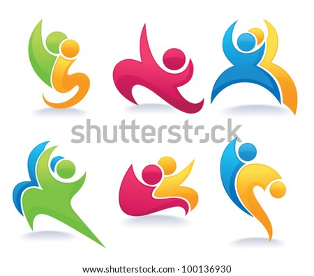 vector collection of abstract people and family in dancing pose