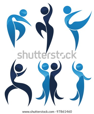vector collection of abstract people in ballet pose