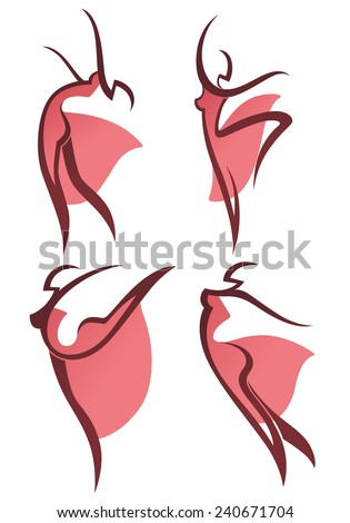 vector collection of abstract women in dancing poses - stock vector