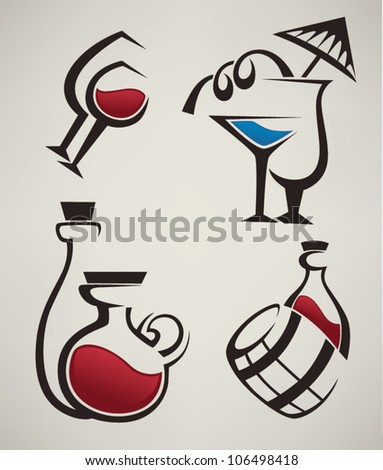 vector collection of alcohol symbols, wine and cocktails - stock vector
