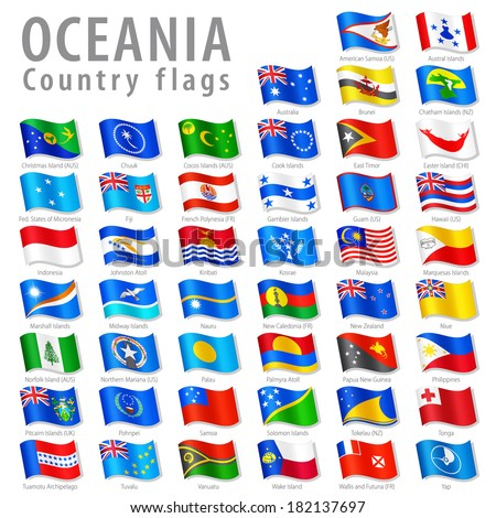Vector Collection of all Oceanic National Flags, in simulated 3 D waving position, with names and grey shadow. Every Flag is isolated on its own layer with proper naming.