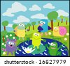 vector collection of animals 15 pond - stock vector