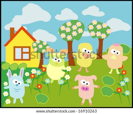 Vector collection of animals 20: village