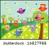 vector collection of animals 18 wood - stock vector