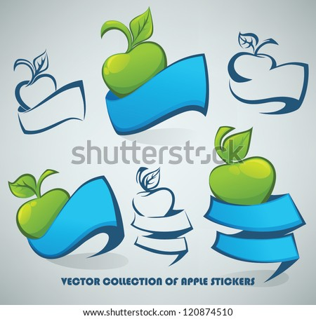 Vector Collection Apple Symbols Stickers Stock Vector 120874510