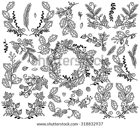 Vector Collection of Autumn and Thanksgiving Themed Floral Elements or Laurels