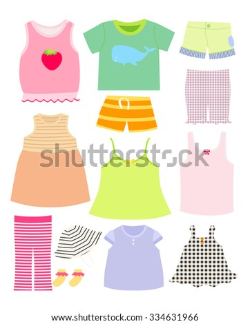 Vector Collection Baby Children Clothes Collection Stock Vector Hd
