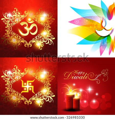 vector collection of beautiful background of diwali with diya and candles illustration - stock vector