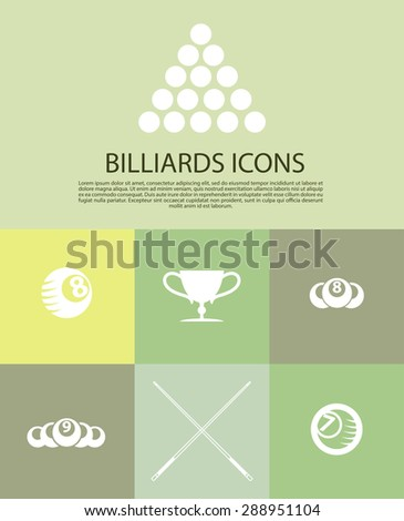 Vector collection of billiard logo. Poolroom icons set with cues, balls, ribbons, laurel wreath, stars. Sport label design, competition banner template. - stock vector