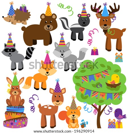 Vector Collection of Birthday Party Themed Forest or Woodland Animals - stock vector