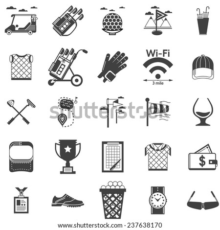 Vector collection of black icons for golf. Black silhouette vector icons set for golf on white background. - stock vector