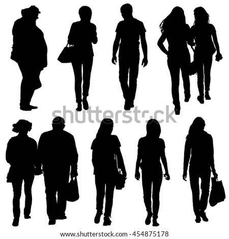 Vector collection of black silhouettes of people on a white background. Teens, couple, girlfriend, colleagues. Youth, leisure. - stock vector