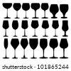 Vector collection of black wine glasses silhouettes - stock photo