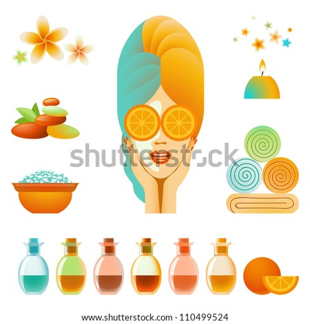 Vector collection of body care and skin care items - stock vector