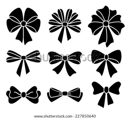 vector collection of bows on white background - stock vector