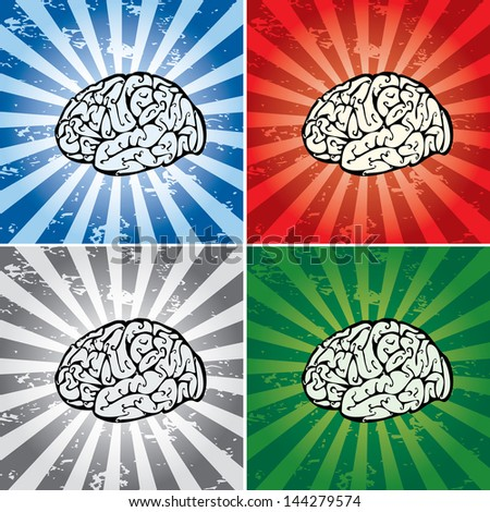Vector collection of brains on grungy backgrounds. - stock vector