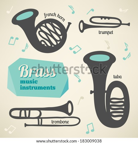 Vector collection of brass music instruments - stock vector